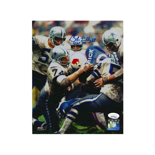 Bob Lilly Dallas Cowboys Autographed Football 8 x 10 Photo (JSA) HOF Inscription Included