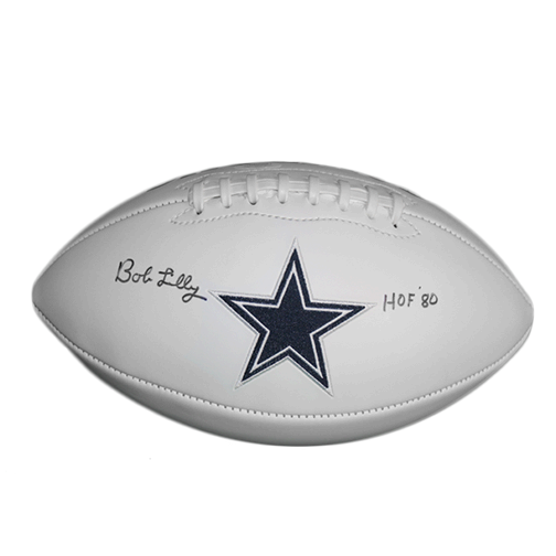 Bob Lilly Dallas Cowboys Autographed Full Size Logo Football (JSA) HOF Inscription Included