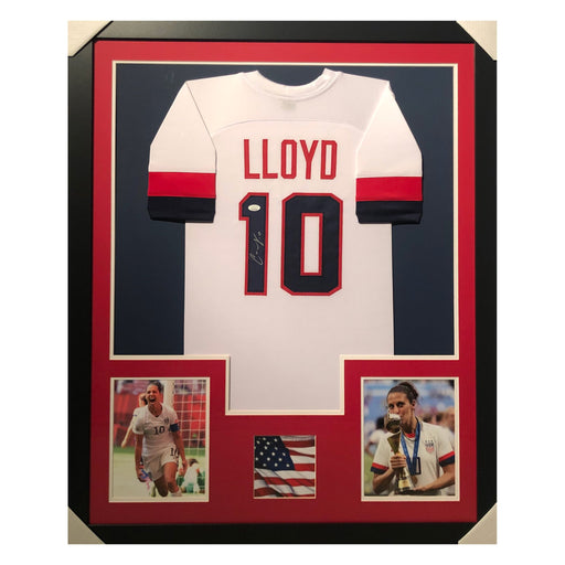 lloyd team usa white autographed framed soccer jersey