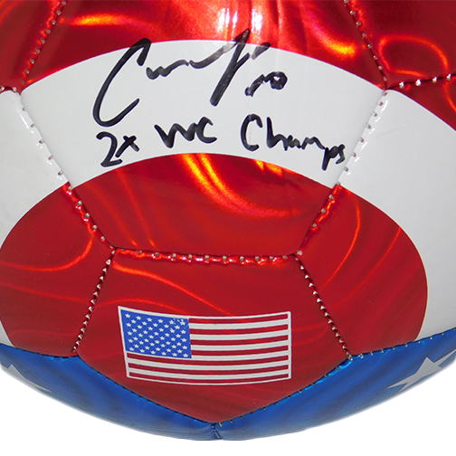 Carli Lloyd Autographed USA Flag Soccer Ball Inscribed 2X WC Champs JSA COA