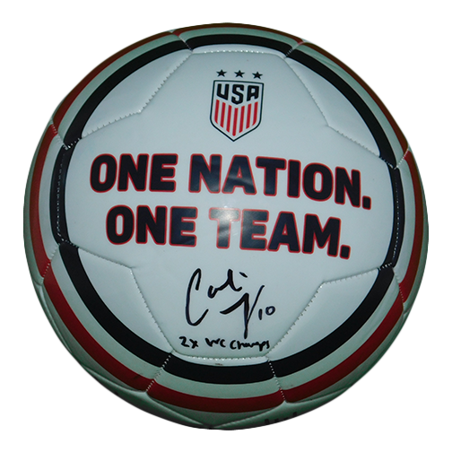 Carli Lloyd Autographed USA White Soccer Ball Inscribed 2X WC Champs JSA COA