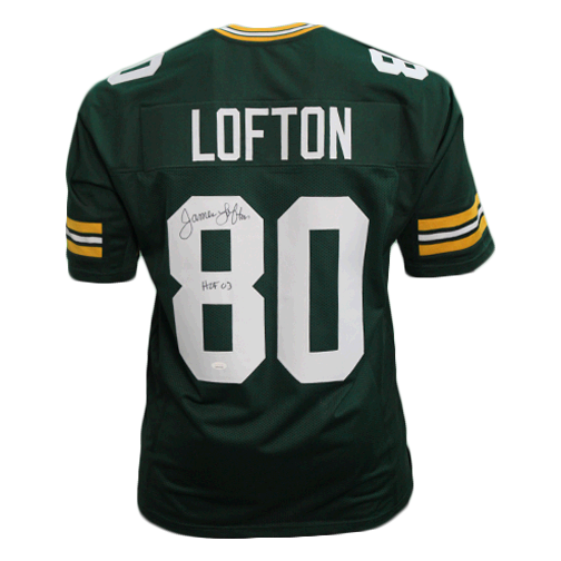 James Lofton Autographed Pro Style Football Jersey Green (JSA)