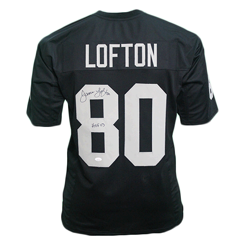 James Lofton Autographed pro style Football Jersey Black (JSA) HOF Inscription Included