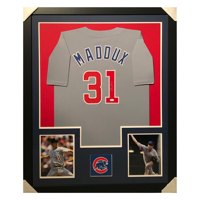 maddux cubs grey autographed framed baseball jersey