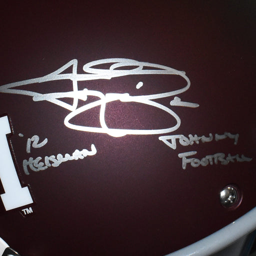 Johnny Manziel Signed Texas A&M Full-Size Maroon Schutt Replica Football Helmet Johnny Football & Heisman 12 Inscription (JSA)