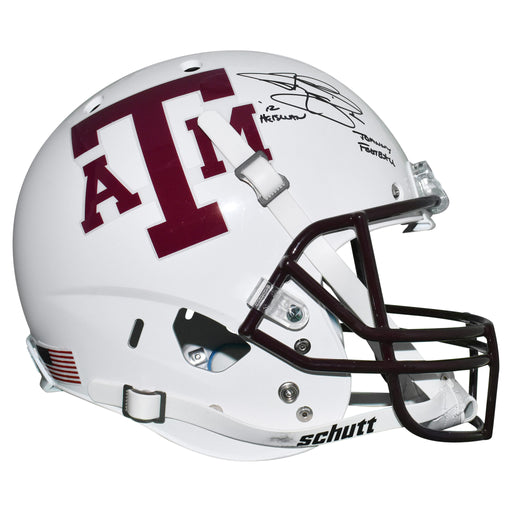 Johnny Manziel Signed Texas A&M Full-Size White Schutt Replica Football Helmet Johnny Football & Heisman 12 Inscription (JSA)