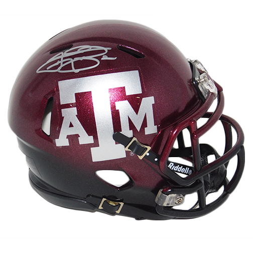 Johnny Manziel Texas A & M Autographed Speed Maroon Metallic Mini Football Helmet(JSA COA)