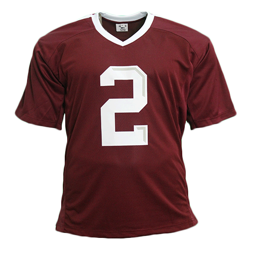 Johnny Manziel Maroon Autographed College Style STAT Football Jersey JSA