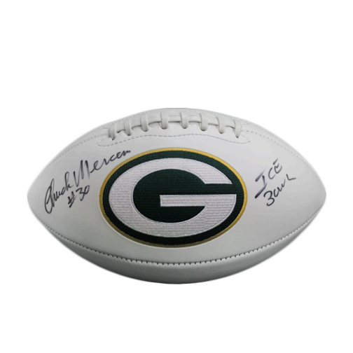 Chuck Mercein Green Bay Packers Autographed Full Size Logo Football (JSA) Ice Bowl Inscription