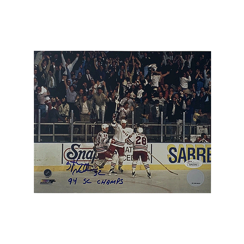 Stefan Matteau Rangers Autographed 8 x 10 Hockey (JSA COA) 94 Cup Inscription