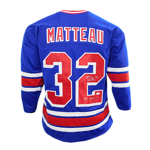 Stefan Matteau Signed '94 Cup Pro Edition New York Hockey Jersey Blue (JSA)