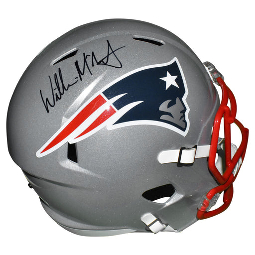 Willie McGinest Signed New England Patriots Speed Full-Size Replica Silver Football Helmet (JSA)