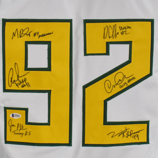 Mighty Ducks 6-Signature Autographed White Jersey (Beckett)