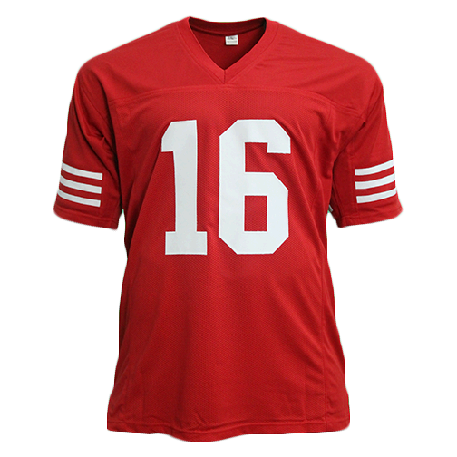 Joe Montana Autographed Pro Style Red Football Jersey (JSA)