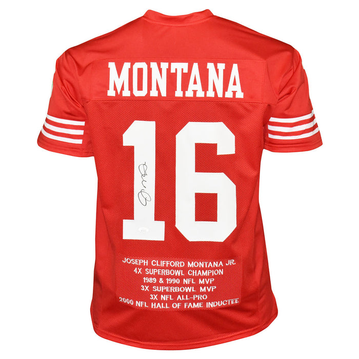 Joe Montana Autographed Pro Style Football Jersey Red Stat (JSA)