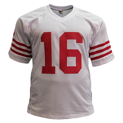 Joe Montana Autographed Pro Style Football Jersey Rare White Version (JSA)