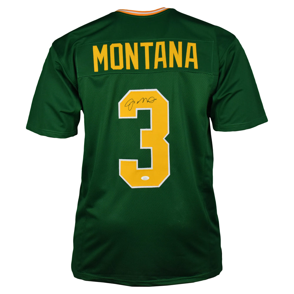 Joe Montana Autographed ND College Style Football Jersey Green (JSA)