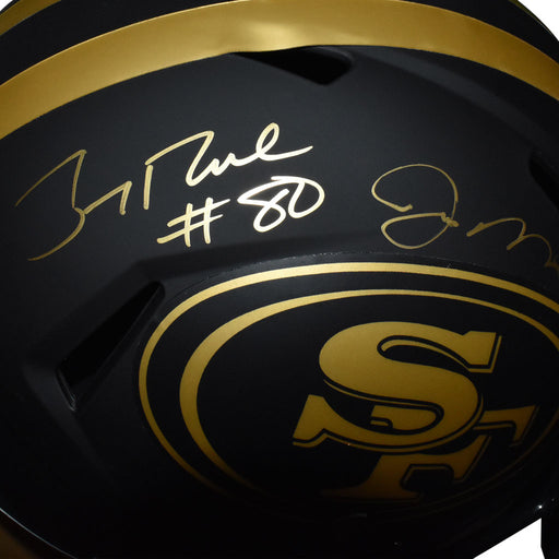 Jerry Rice & Joe Montana Dual Signed San Francisco 49ers Authentic Eclipse Speed Full-Size Football Helmet (JSA)