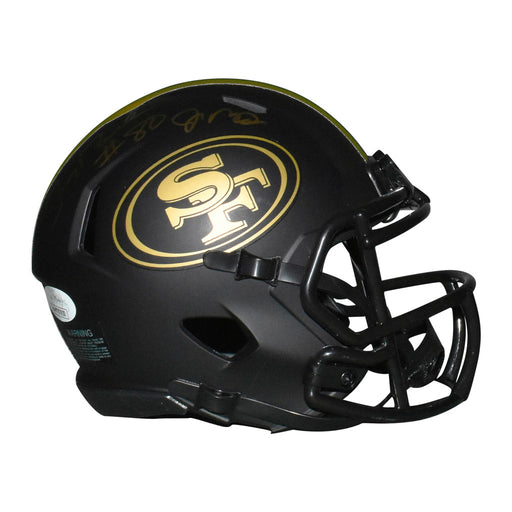 Jerry Rice & Joe Montana Dual Signed San Francisco 49ers Eclipse Speed Mini Replica Football Helmet (JSA)