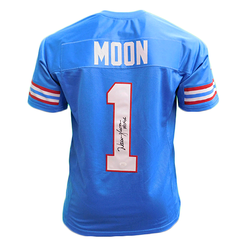 Warren Moon Autographed Pro Style Football Jersey Light Blue HOF '06 (JSA)