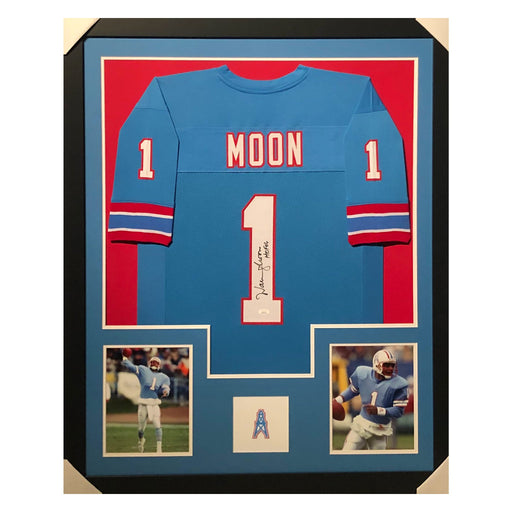 moon oilers hof 06 blue autographed framed football jersey