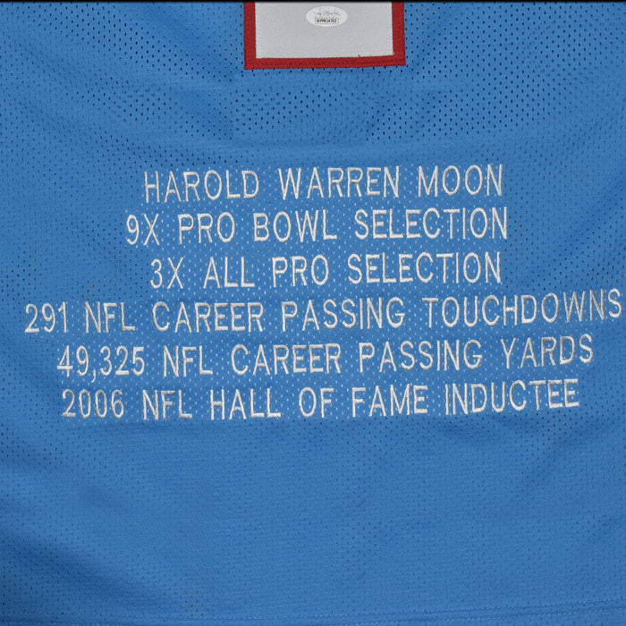 Warren Moon Signed Houston Pro Blue Stats Football Jersey (JSA)