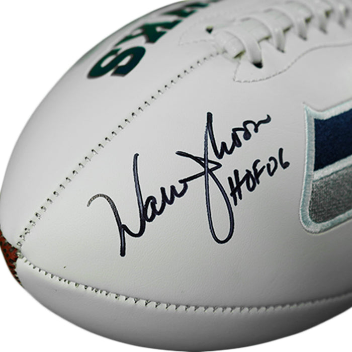 Warren Moon Signed HOF 06 Inscription Seattle Seahawks Logo Football (JSA)