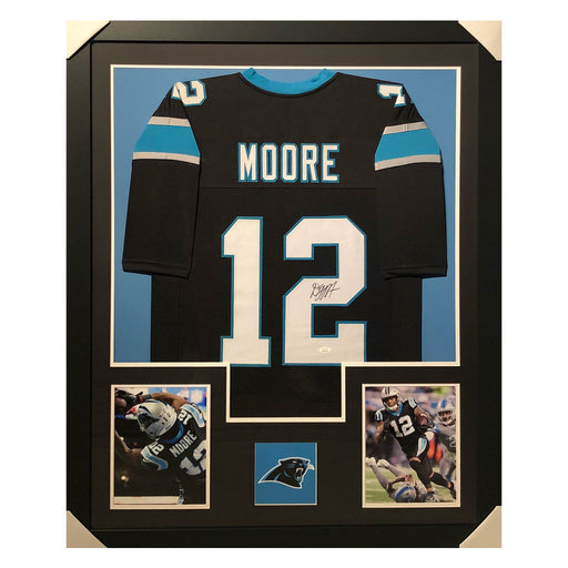 moore panthers black autographed framed football jersey