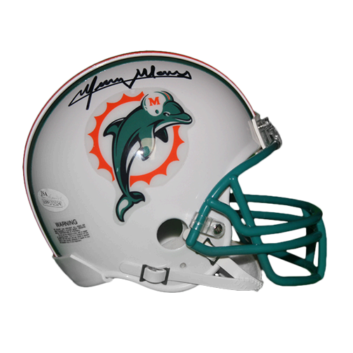 Mercury Morris Miami Dolphins Autographed Throwback Mini Football Helmet (JSA)