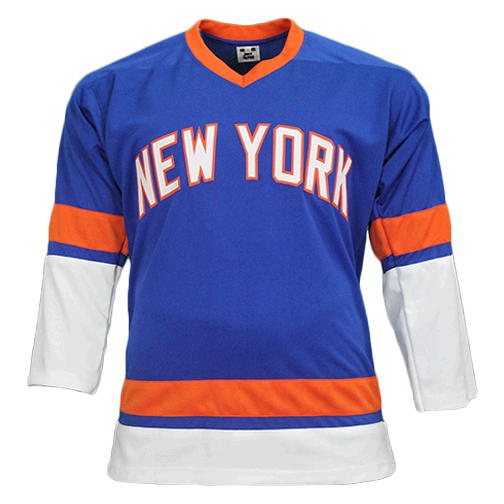 Ken Morrow New York Autographed Throwback Hockey Jersey Blue (JSA COA) 4x Stanley Cup Champ Inscription