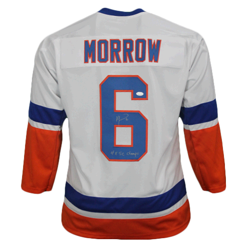 Ken Morrow New York Autographed Throwback Hockey Jersey White (JSA COA) 4x Stanley Cup Champ Inscription