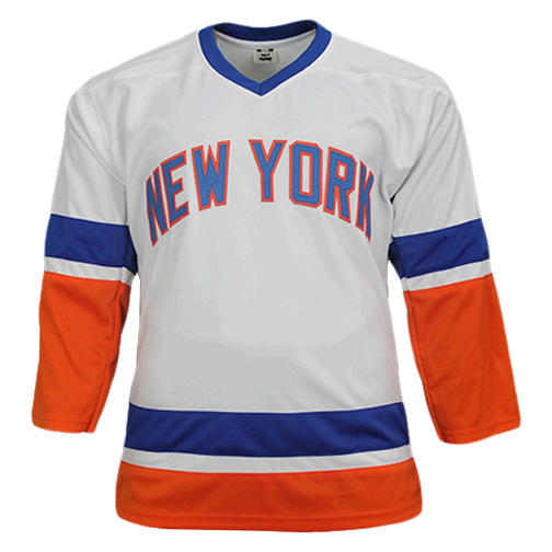 Ken Morrow New York Autographed Throwback Hockey Jersey White (JSA) 4x Stanley Cup Champ Inscription