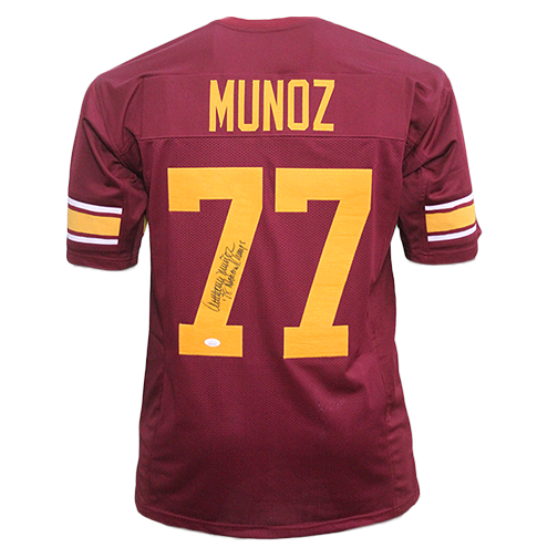 Anthony Munoz Autographed College Style Football Jersey Maroon (JSA)