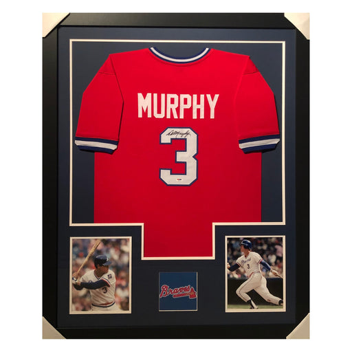 murphy braves red autographed framed baseball jersey