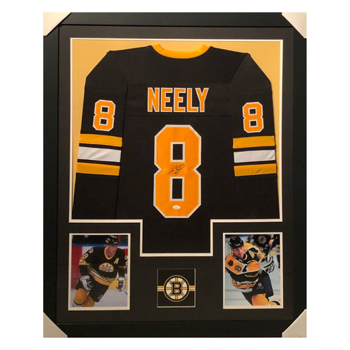neely bruins black autographed framed hockey jersey