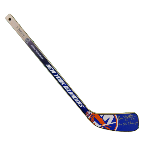 Bobby Nystrom Autographed New York Islanders Mini Hockey Stick (JSA) 4x Stanley Cup Inscription Included
