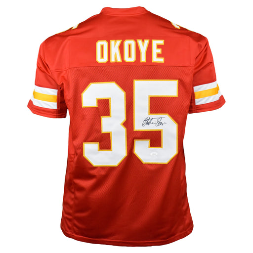 Christian Okoye Signed Pro-Edition Red Football Jersey (JSA)