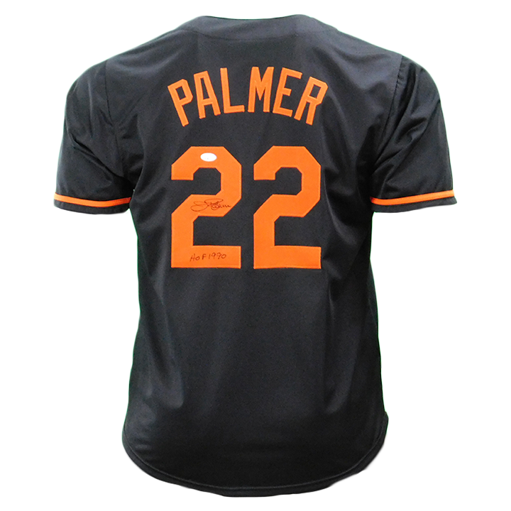 Jim Palmer Signed HOF 90 Inscription Baltimore Black Jersey (JSA)
