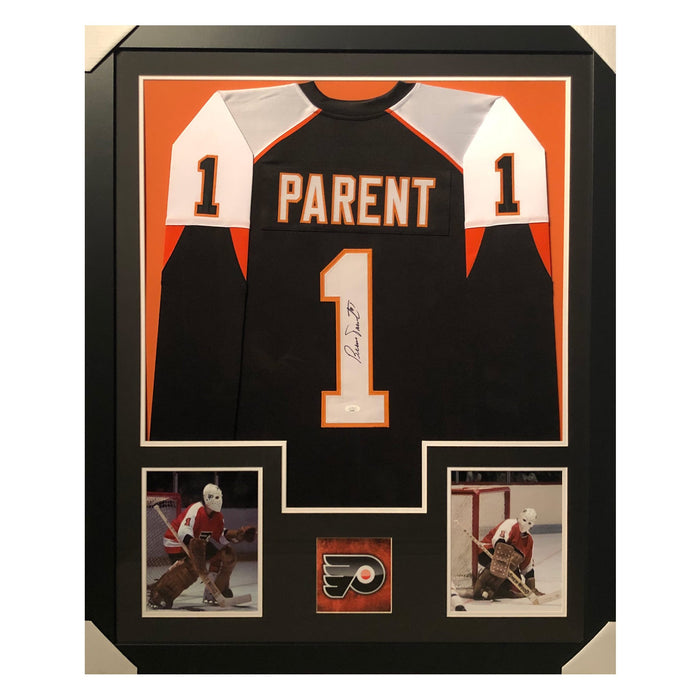 parent fliers black autographed framed hockey jersey