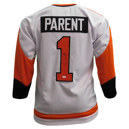 Bernie Parent Autographed White Hockey Jersey (JSA)