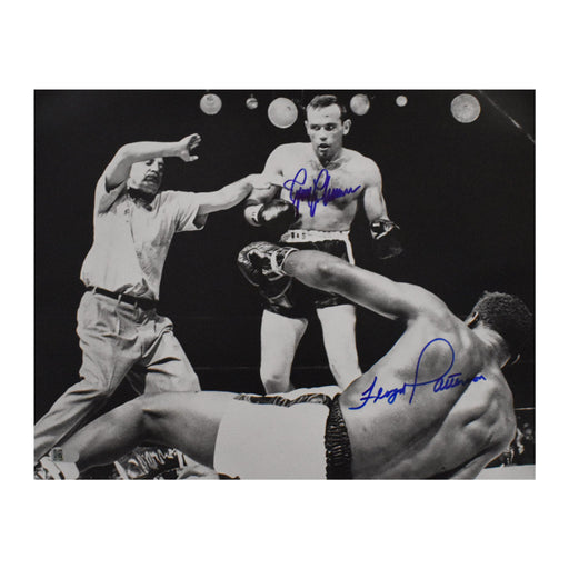 floyd patterson & ingemar johansson signed 11x14 knock down photo aiv certificate of authenticity