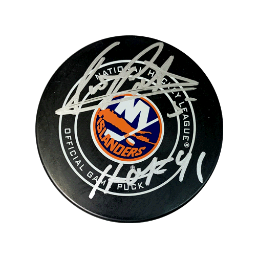 Denis Potvin Autographed New York Islanders Official Game Hockey Puck (JSA COA) HOF Inscription Included