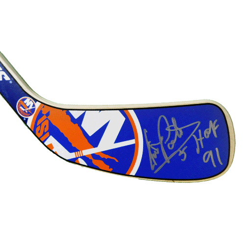 Denis Potvin Autographed New York Islanders Mini Hockey Stick JSA COA HOF Inscription Included