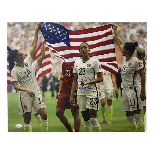 Christian Press Autographed 16 x 20 Flag Pose (Crying) (JSA)