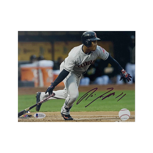 Jose Ramirez Autographed 8 x 10 Photo (Beckett) Certified (BAS) Horizontal Batting Pose
