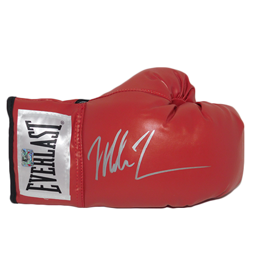 Mike Tyson Autographed Red Boxing Glove Signed in Silver (TYSON HOLO)