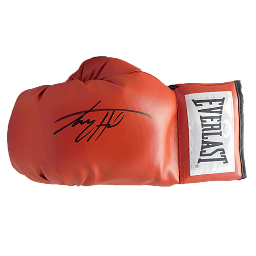 Larry Holmes Autographed Red Boxing Glove JSA