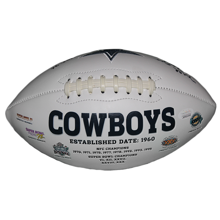Mel Renfro Dallas Cowboys Logo Autographed Full Size Football (JSA) HOF Inscription Included