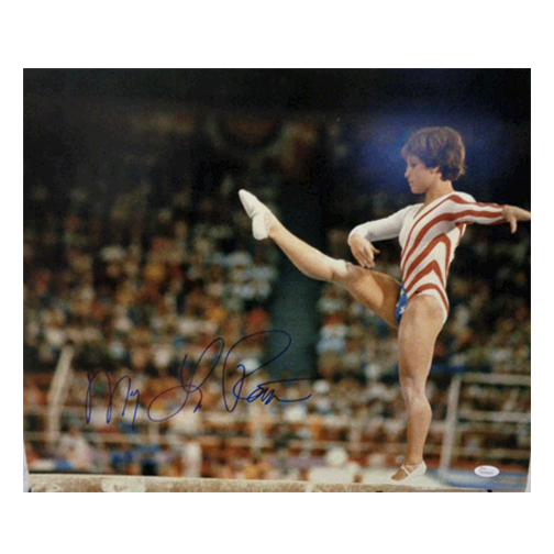 Mary Lou Retton Autographed 16 x 20 Photo USA Olympics Gymnastics Leg Kick (JSA)