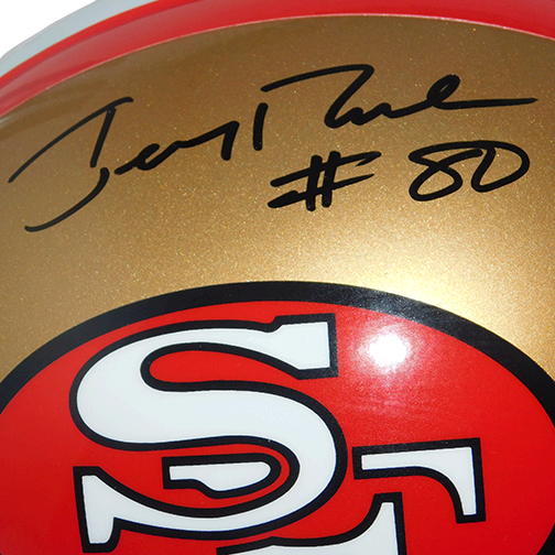 Jerry Rice Full Sized Autographed Replica Football Helmet (JSA)